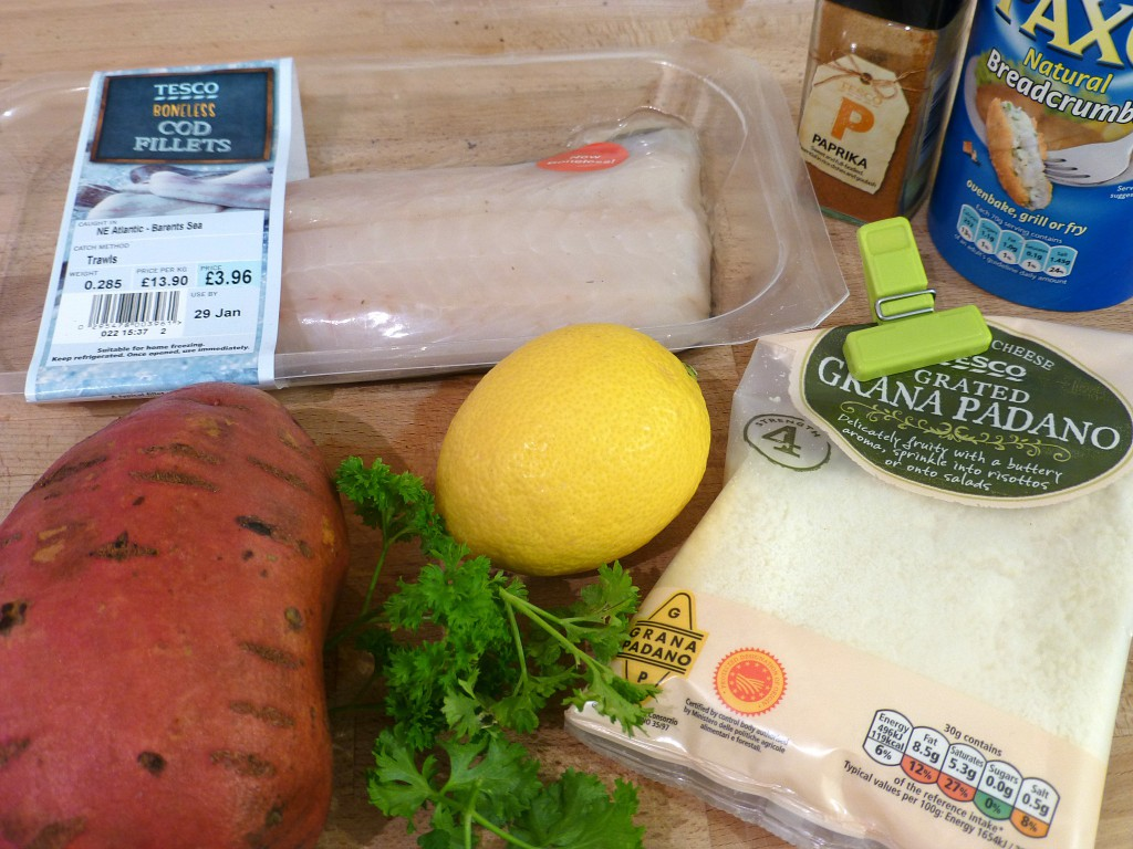 Ingredients for healthy fish and chips