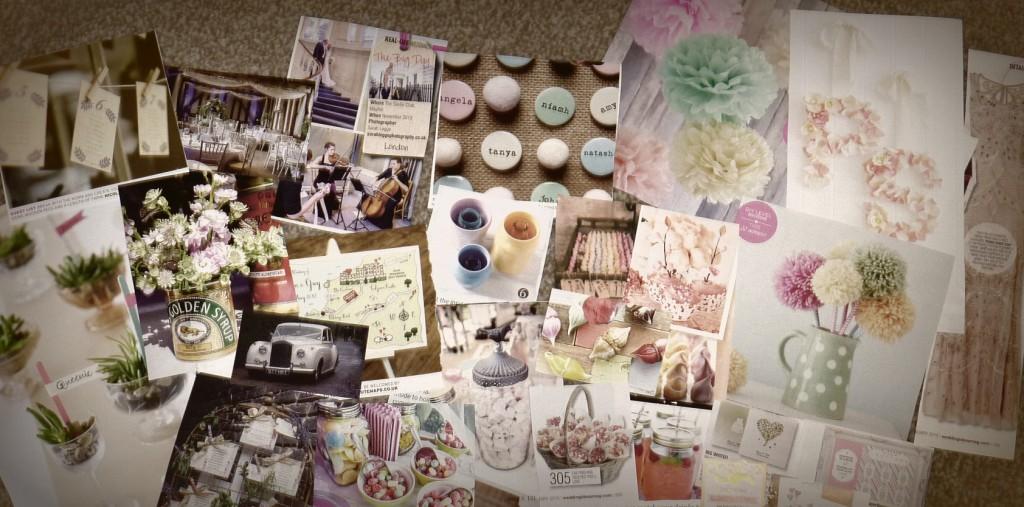 Magazine clippings wedding mood board