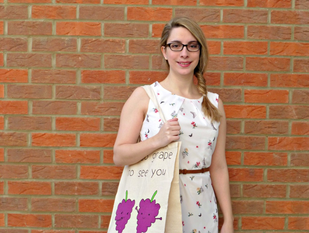Primark flower butterfly dress with grape bag
