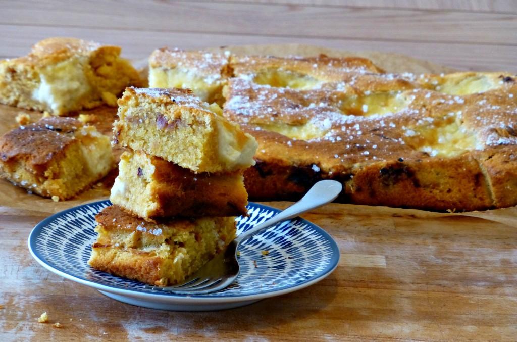 Rhubarb and custard traybake recipe