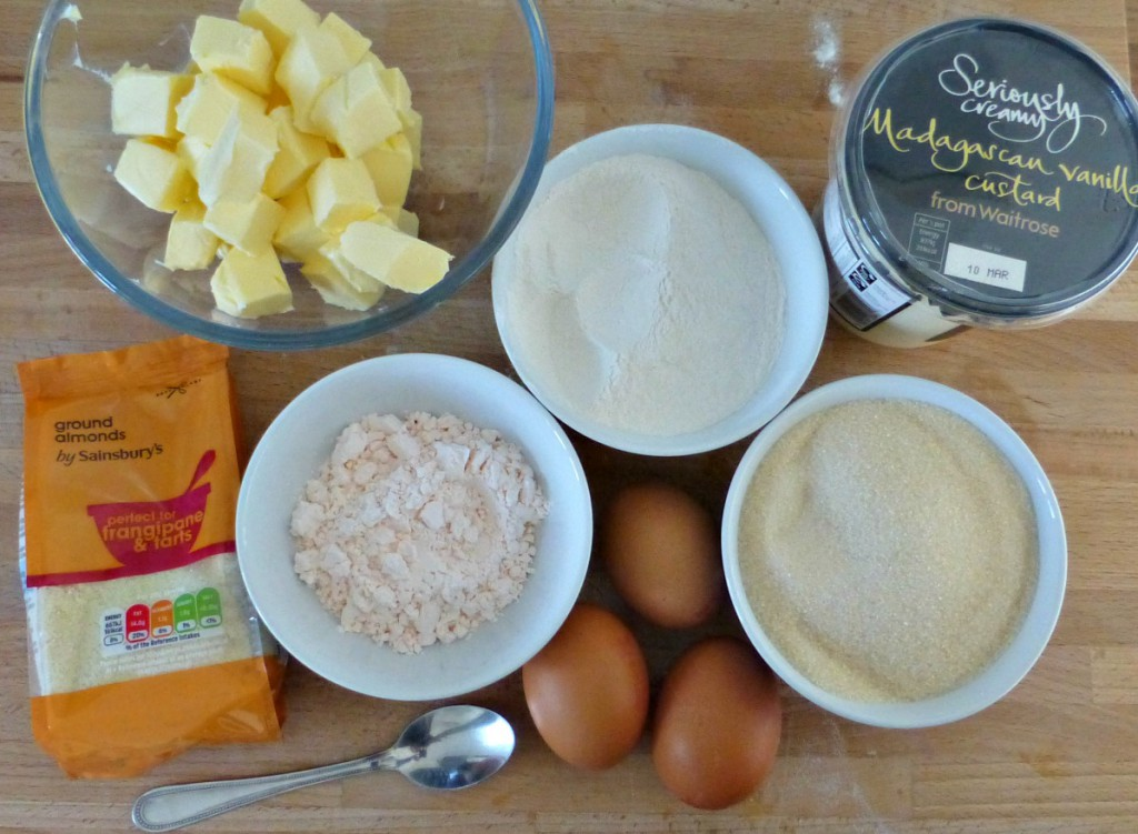 Rhubarb and custard traybake ingredients