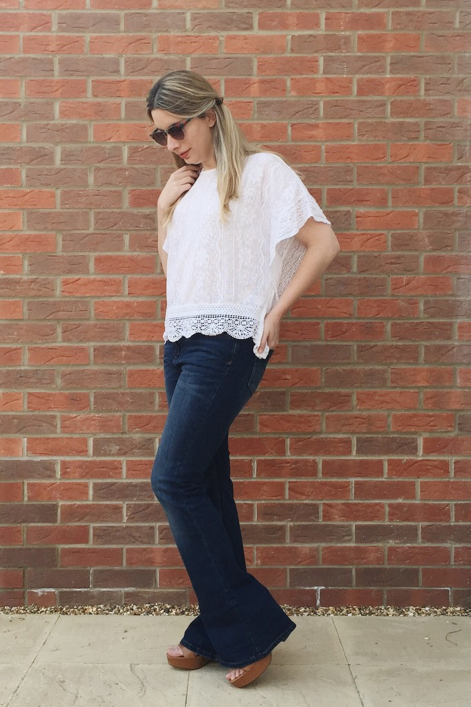 7a2bcb8cdd4 Next flare jeans and platform sandals with New Look crochet look top