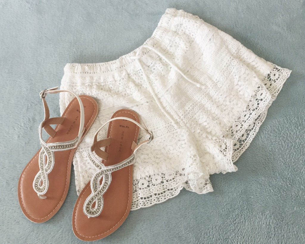New Look crochet beach shorts and sandals
