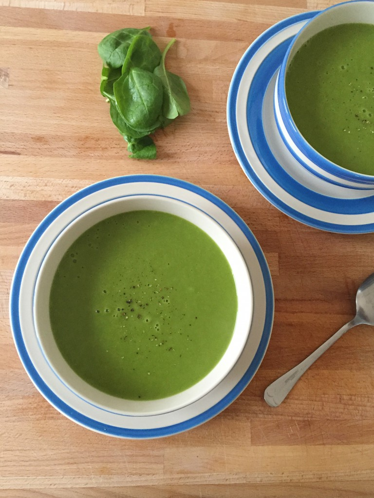 Spring spinach and vegetable soup