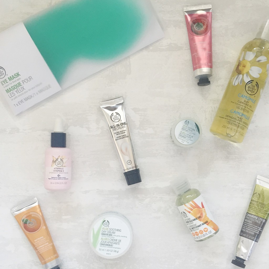 The Body Shop skincare and makeup products haul