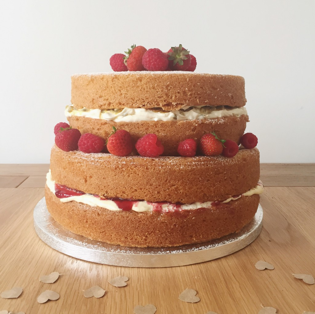 DIY Naked sponge wedding cake