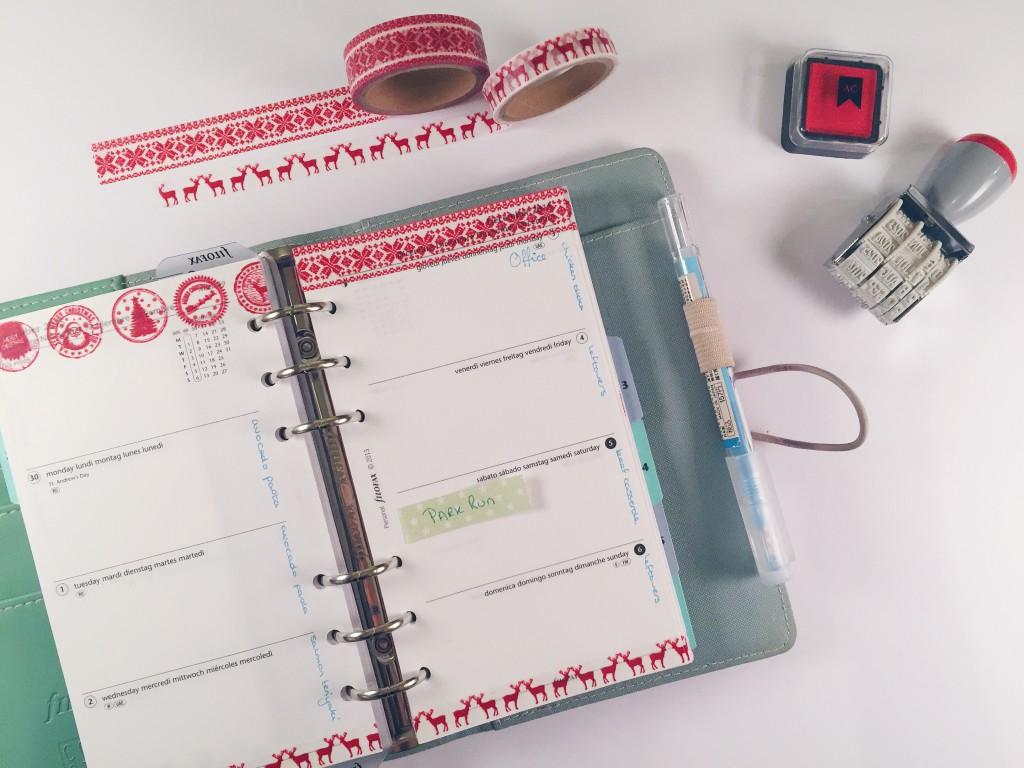 Filofax planner insert Christmas washi tape