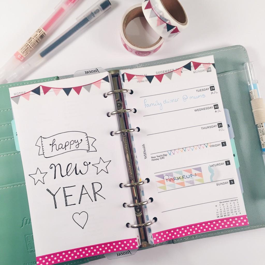 Filofax planner diary inserts washi tape