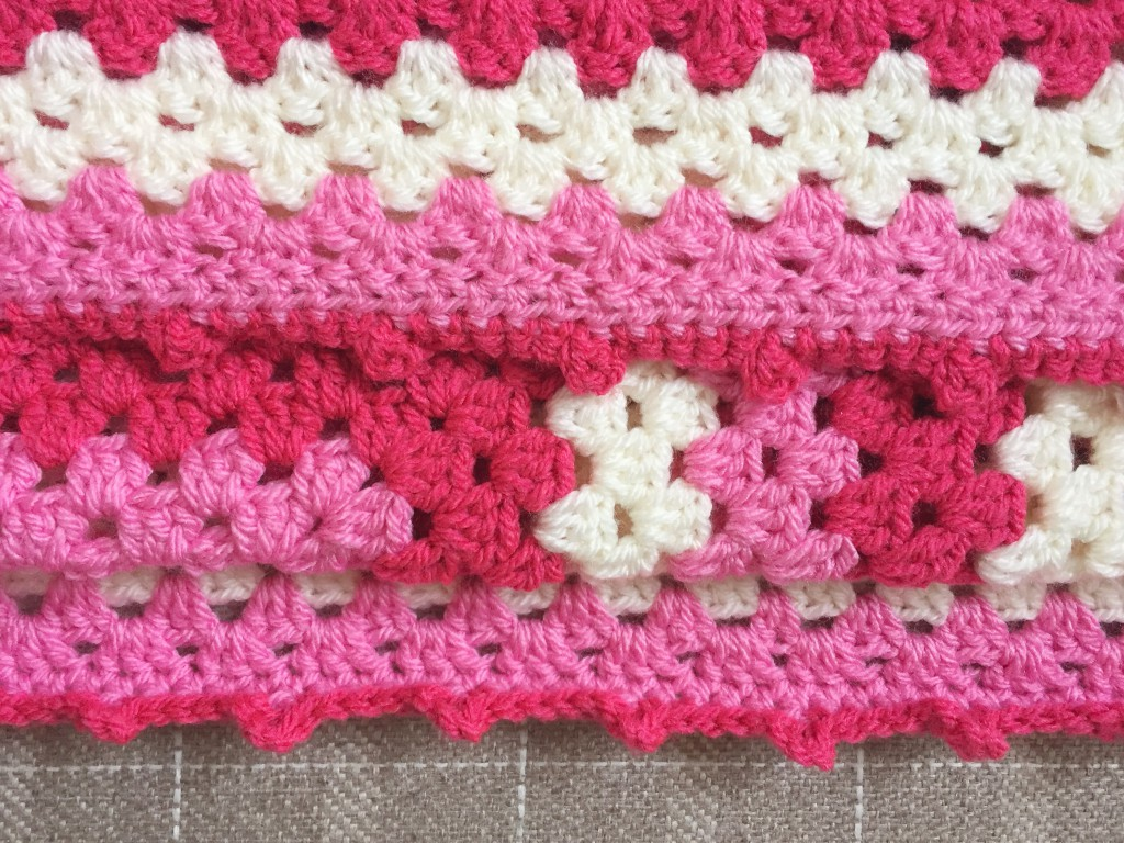 Granny Square Crochet Blanket in pinks and creams