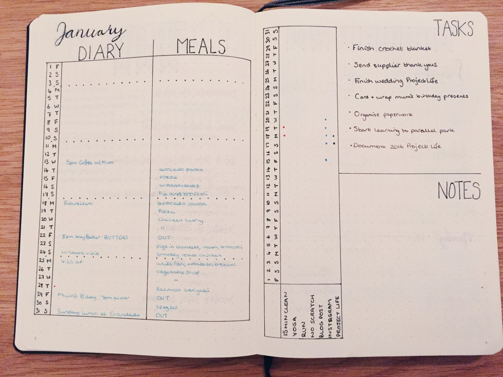 Bullet Journal January monthly spread