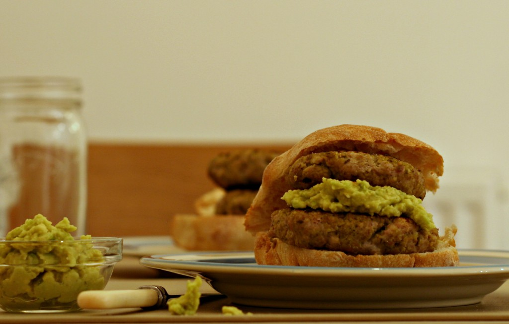 Pesto turkey burgers with avocado and ciabatta rolls