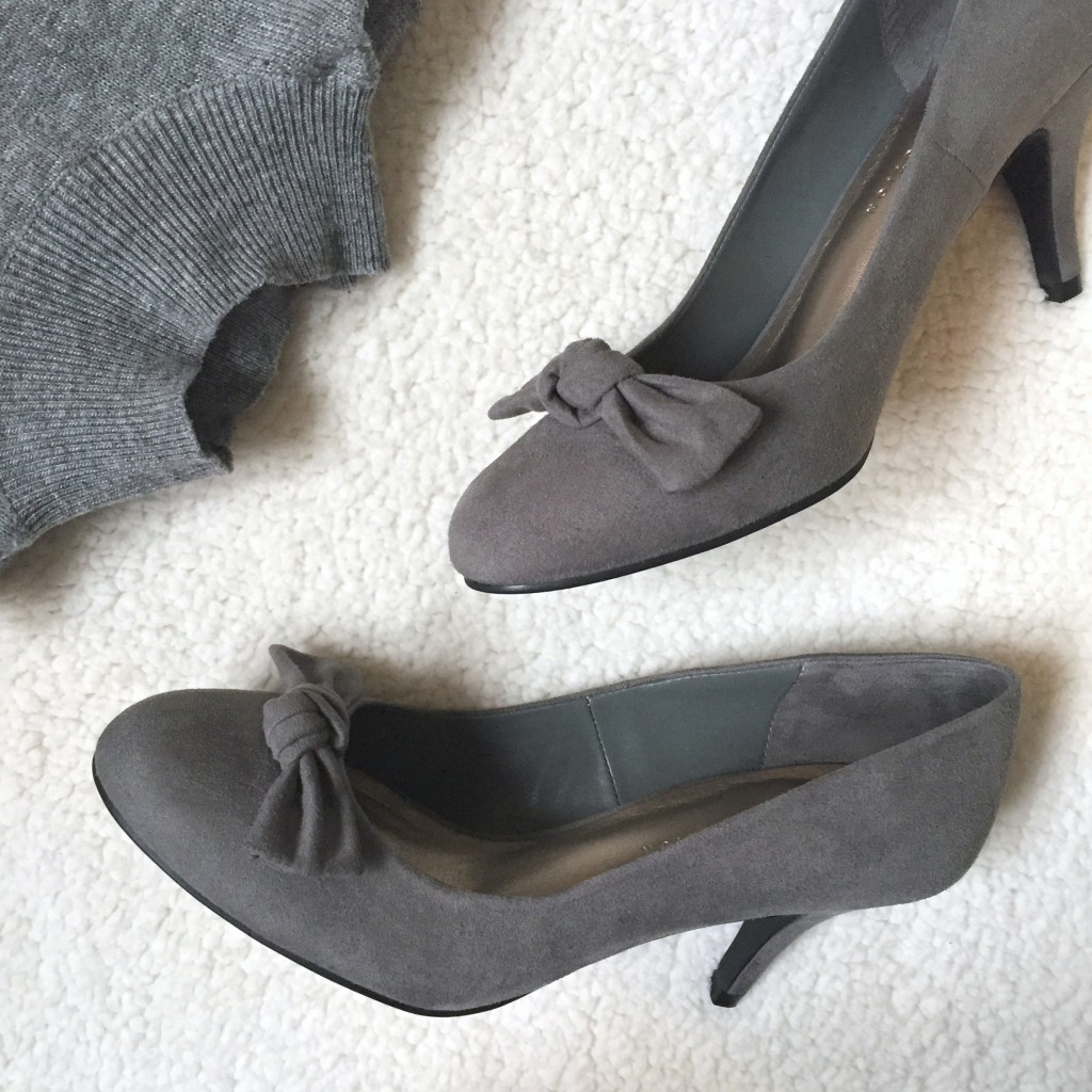Grey bow heels Marks and Spencer