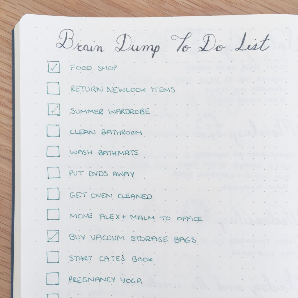 Brain dump to do list