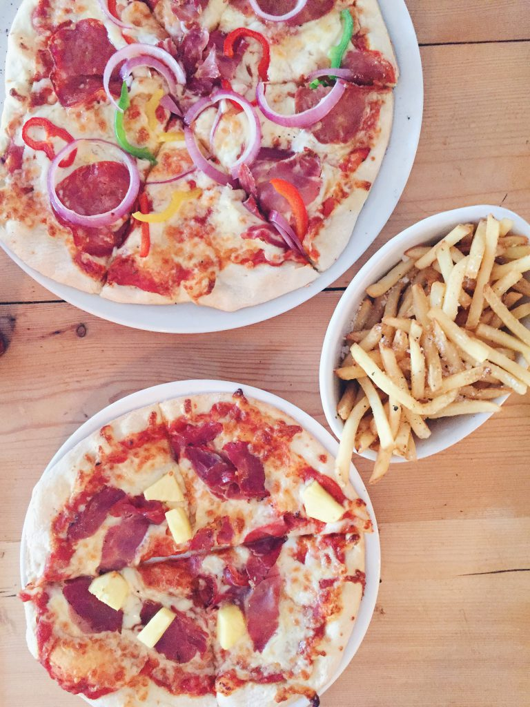 The Angry Anchovy pizza and fries