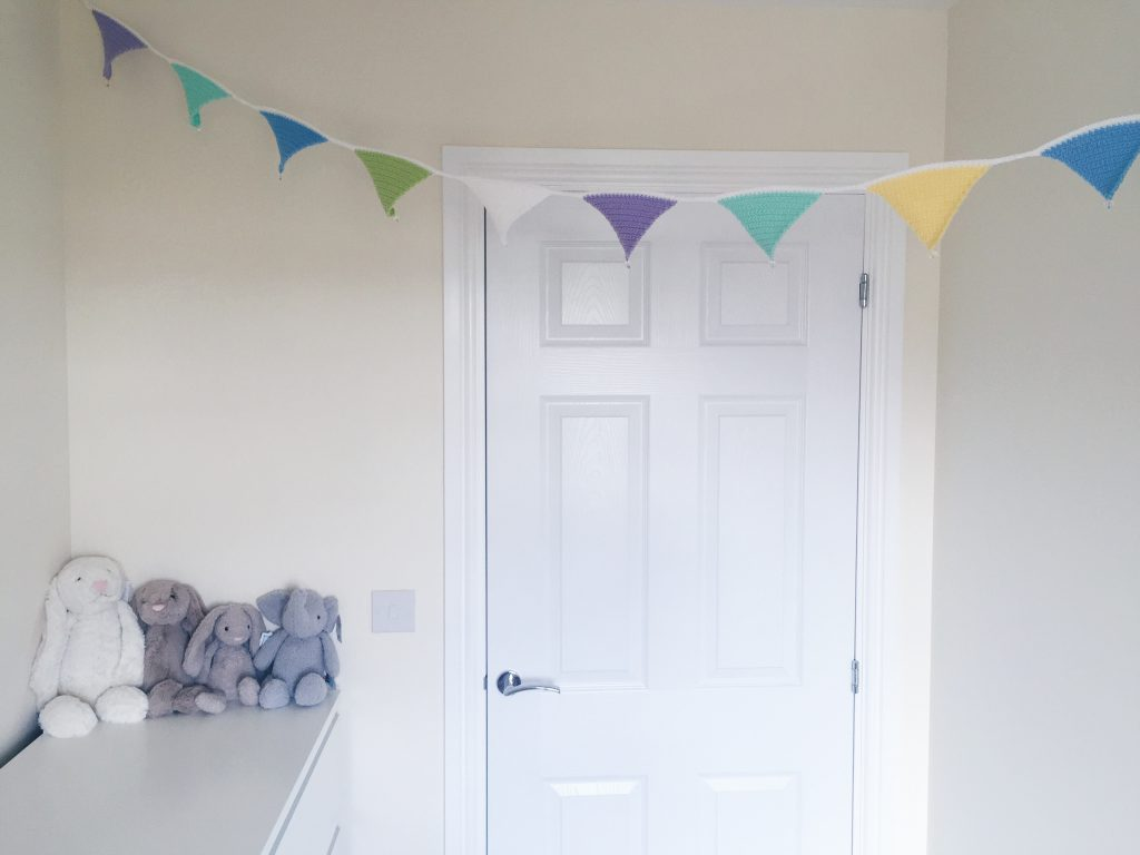Crochet bunting in nursery