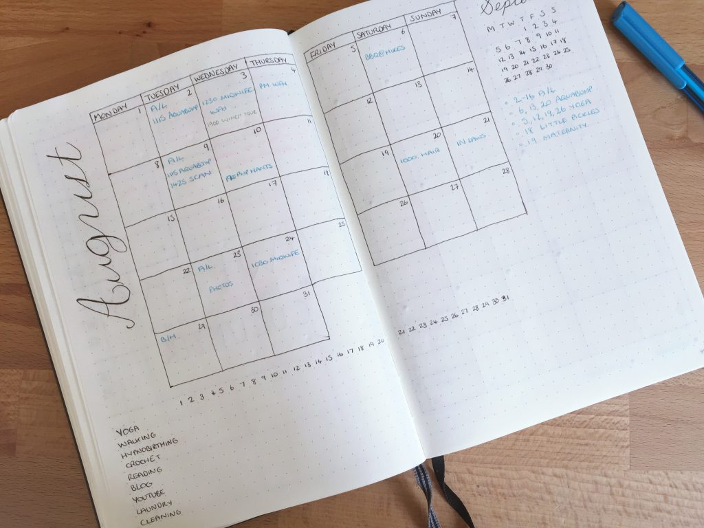 bullet journal August monthly spread