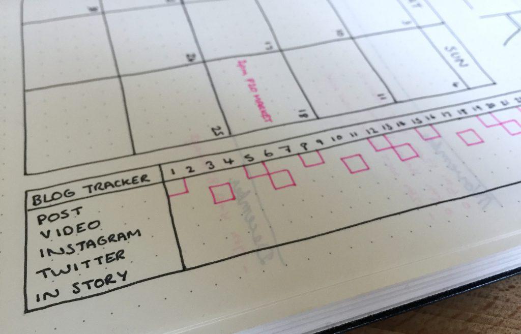Bullet Journal blog tracker