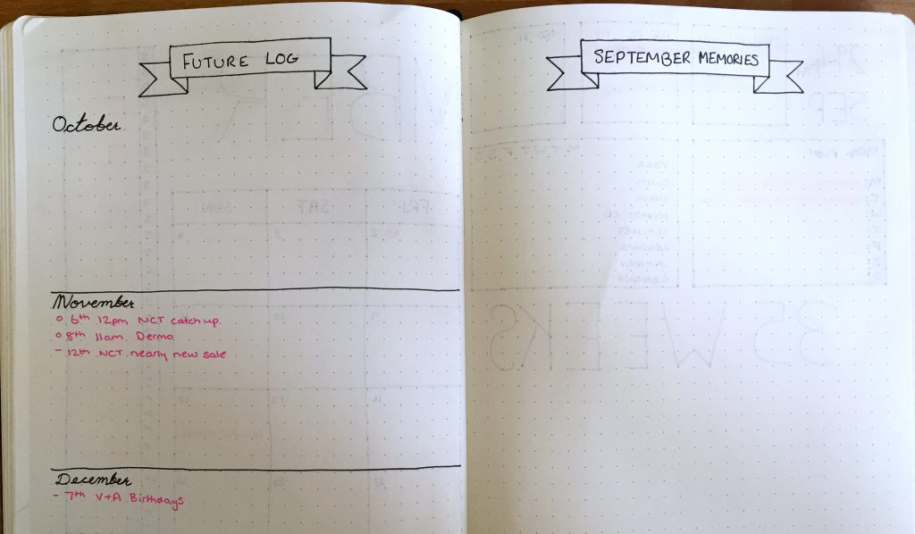 Bullet Journal future Log and monthly memories