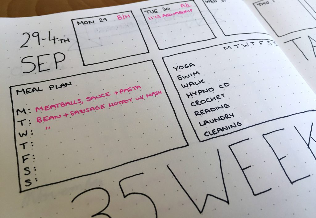 Bullet Journal weekly spread and meal plan