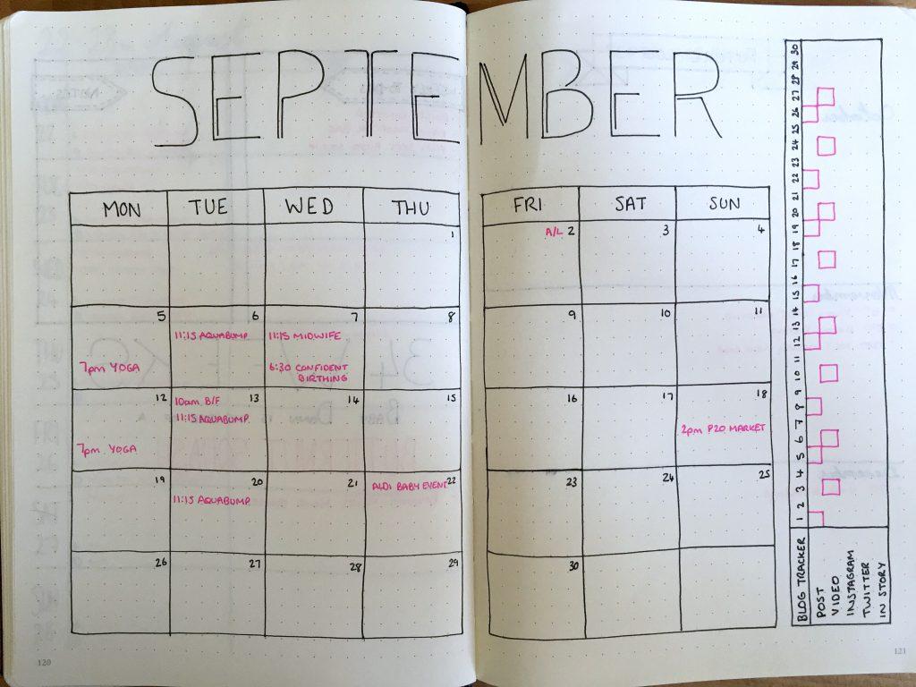 September Bullet Journal monthly spread