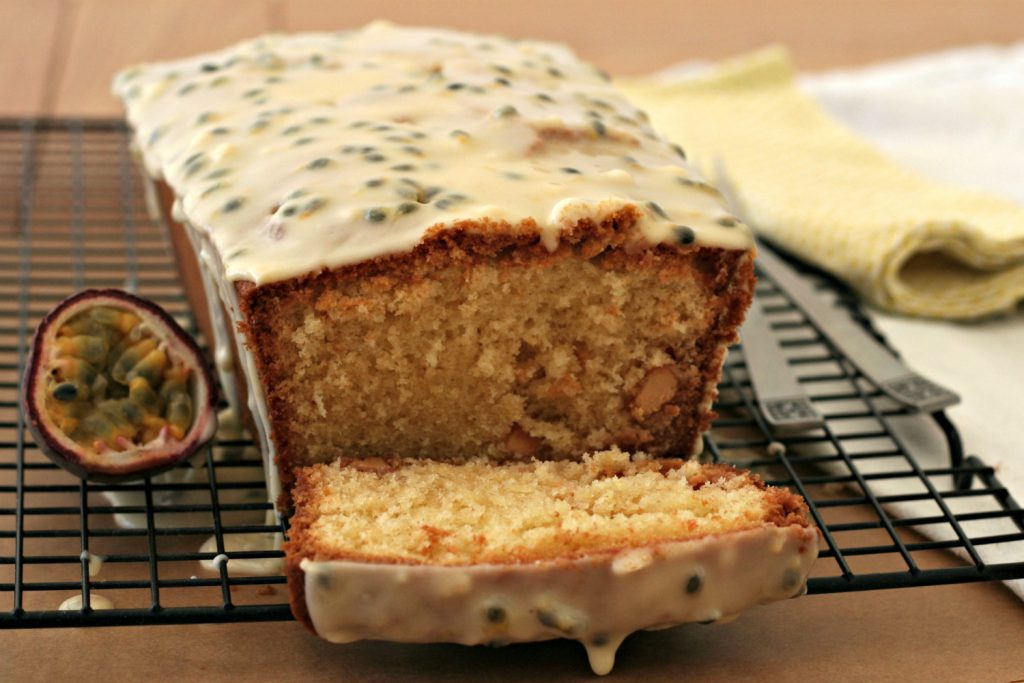 White chocolate and passion fruit drizzle cake