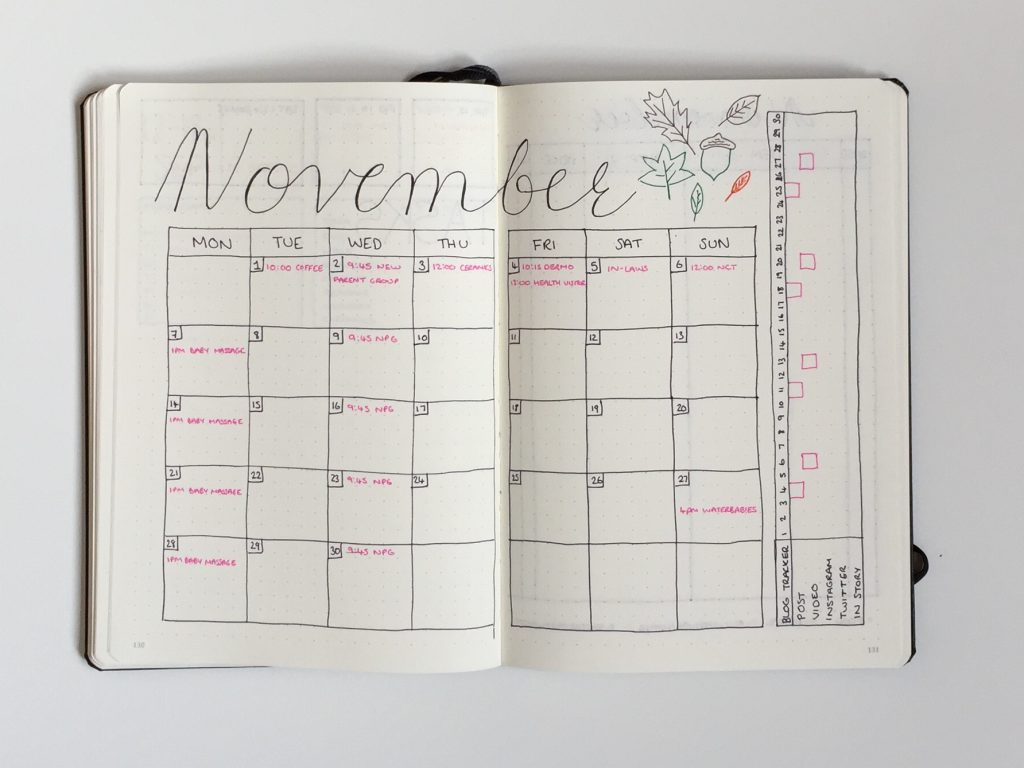 november monthly spread bullet journal