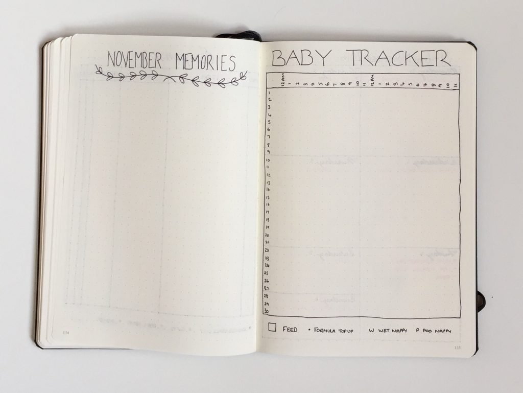 baby tracker bullet journal