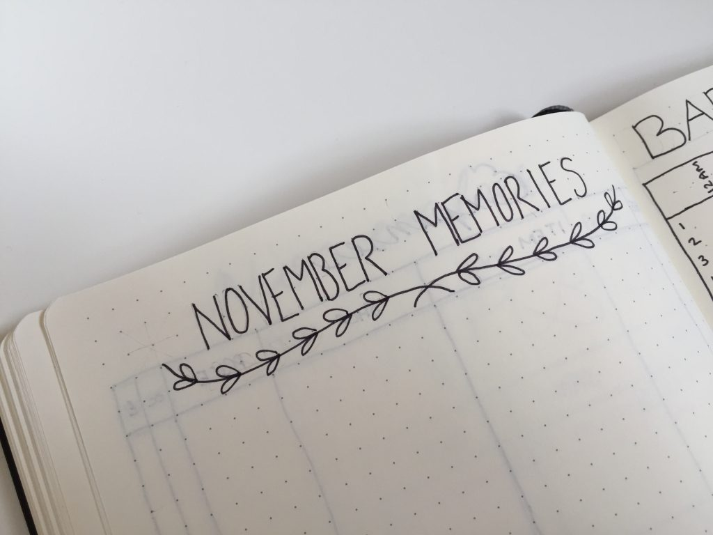 November memories bullet journal spread