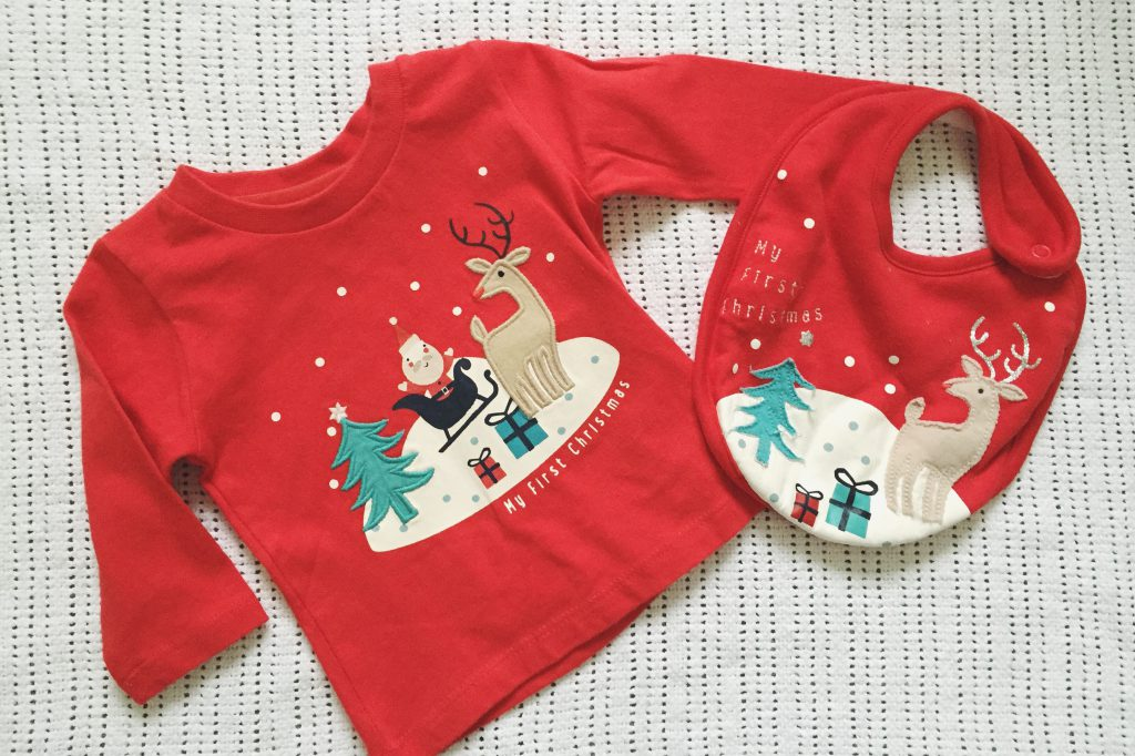 Marks and Spencer Baby's First Christmas top and bib