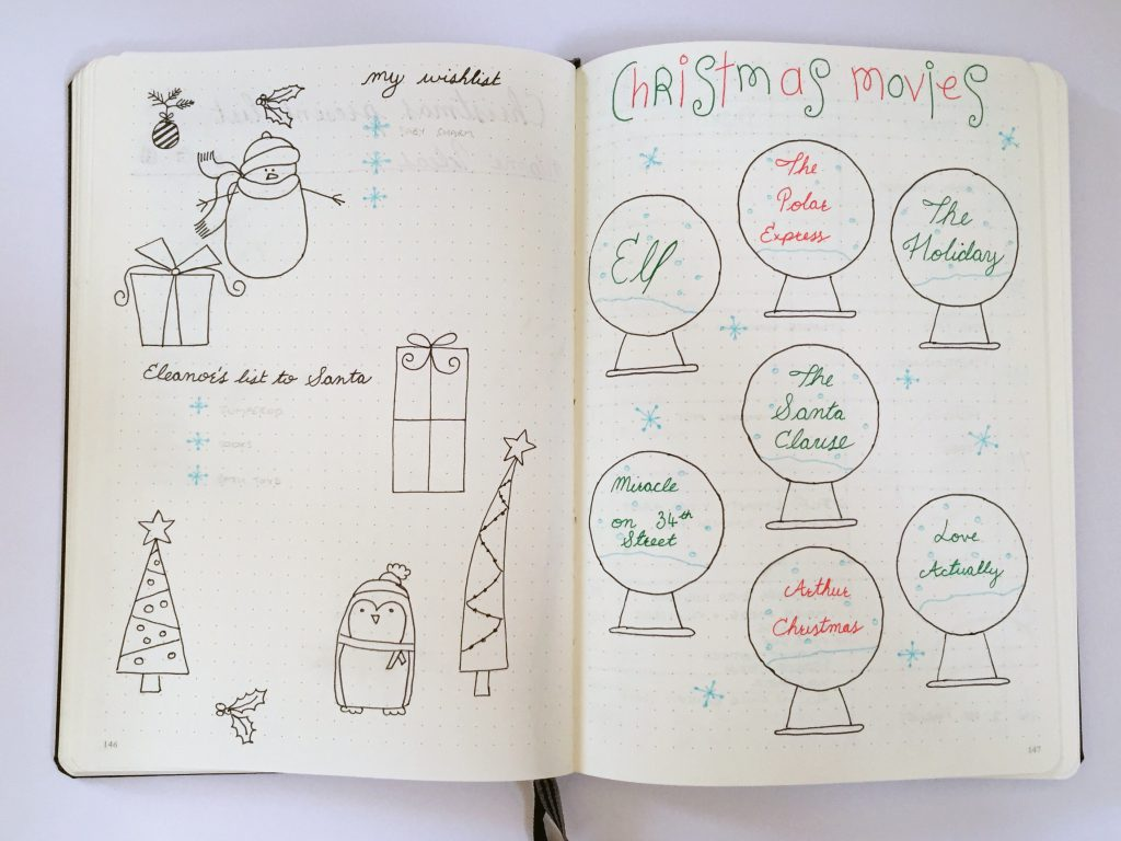 Bullet Journal Christmas spreads wishlist and movies to watch