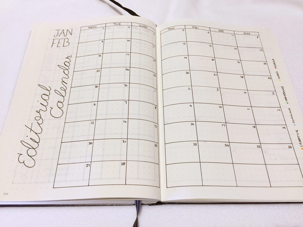 Bullet Journal 2017 editorial calendar