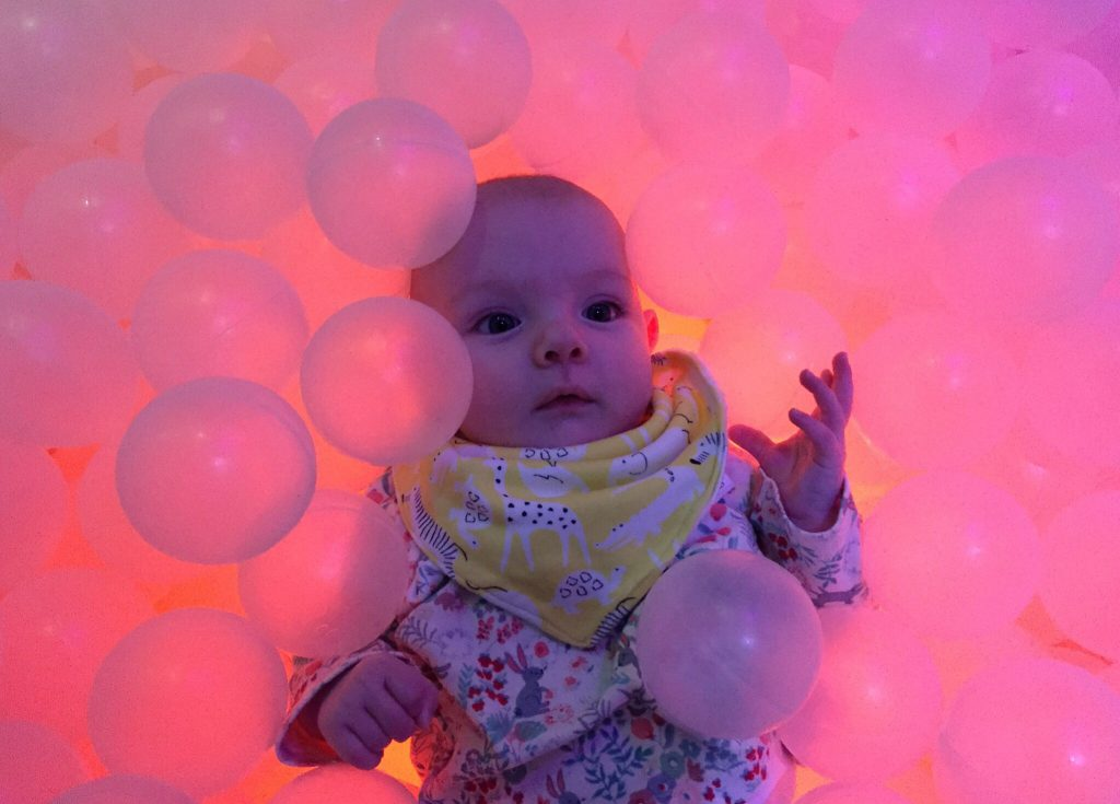 Eleanor in the baby sensory room