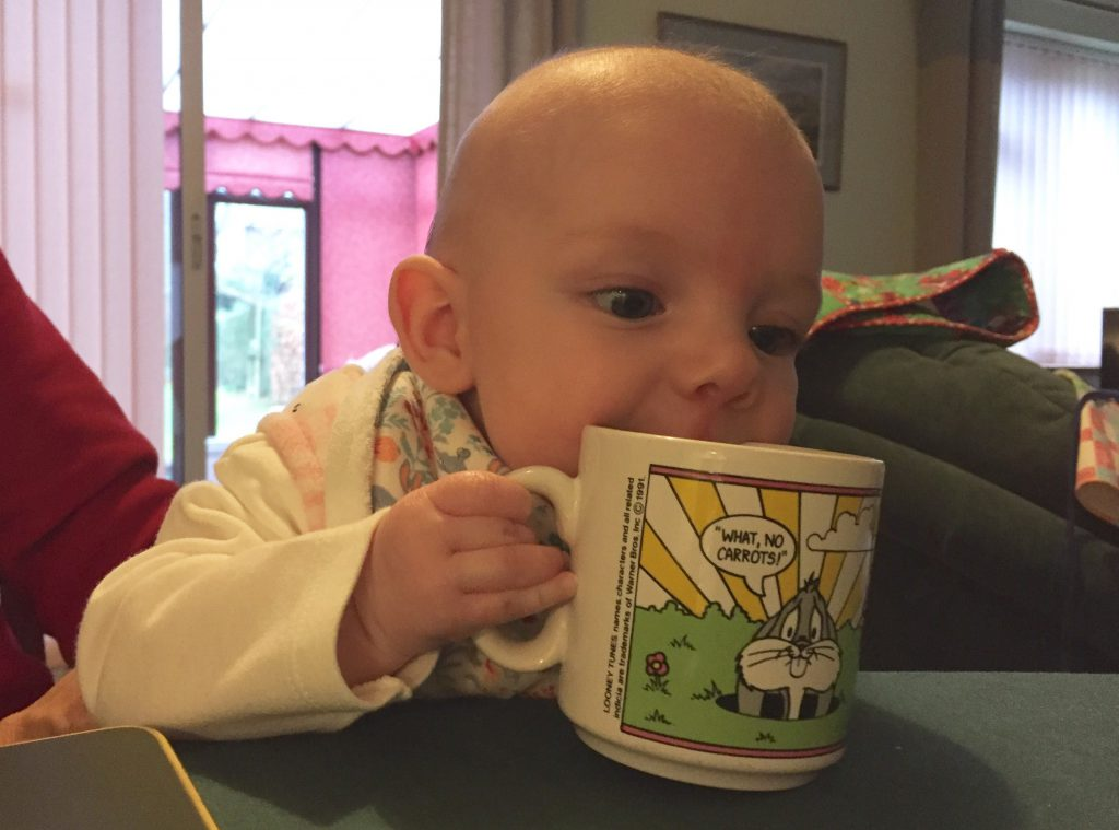 Eleanor with my baby mug