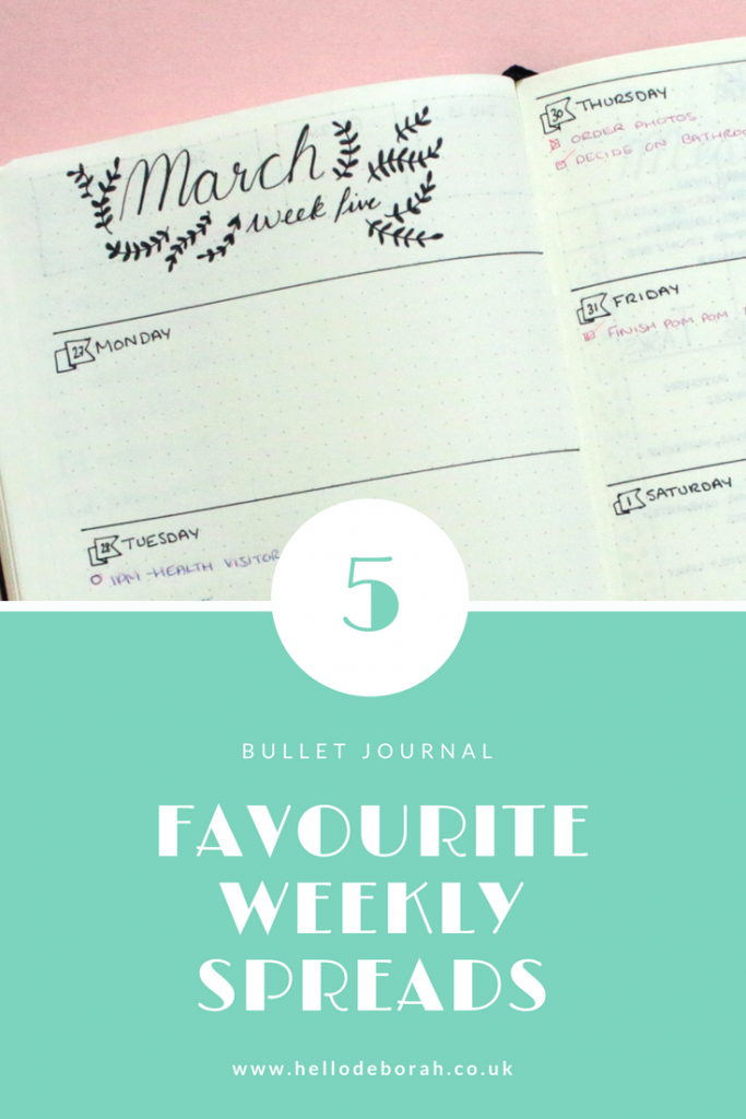 These are my top 5 bullet journal weekly spreads and layouts. I have one for when I have lots of appointments or when I have a quiet week but loads to do. I switch between layouts depending on what my week looks like.