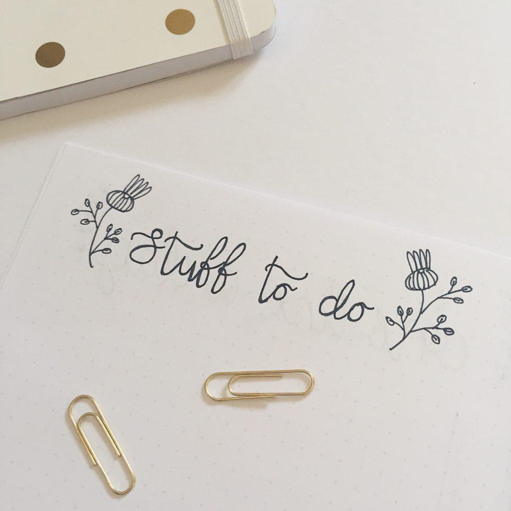 June bullet journal spread master task list stuff to do