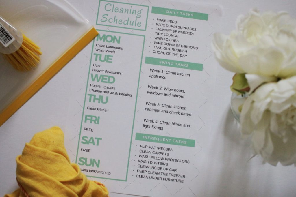 This it the cleaning schedule I use for Spring 2017. It includes rest days, daily chores and weekly tasks.