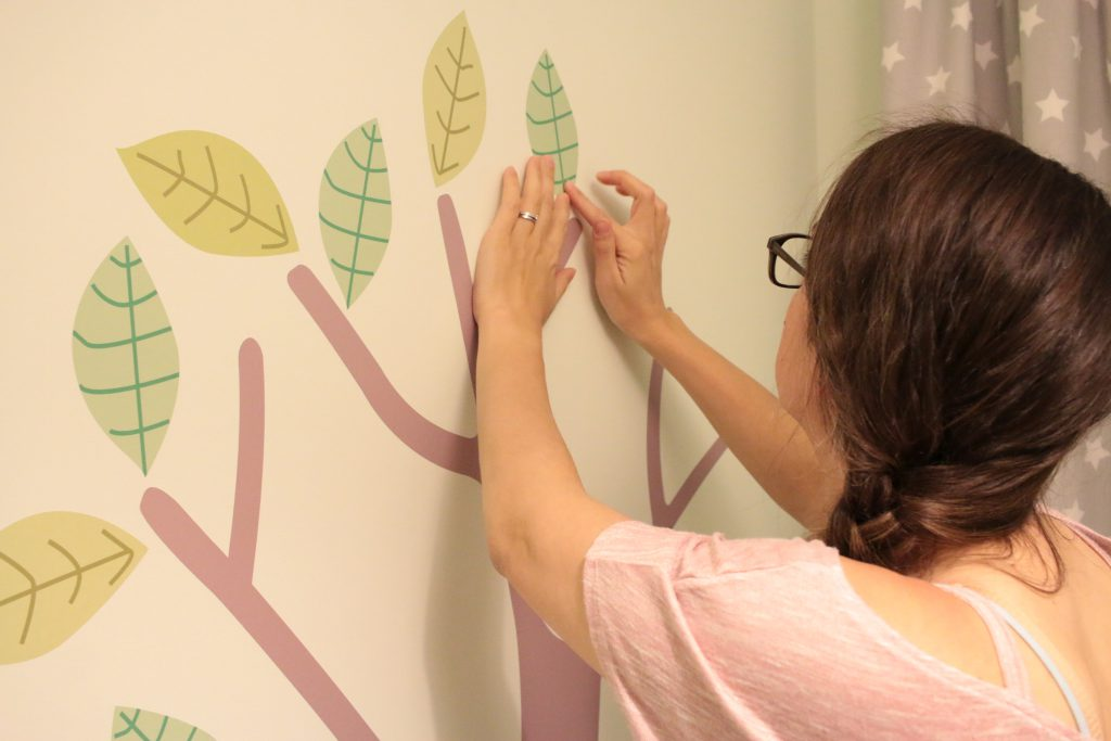 Eleanor's woodland theme nursery wall stickers. We picked them up from Parkins Interiors and they are amazing.