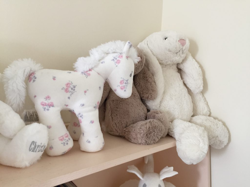Eleanor's Nursery teddies on the bookcase