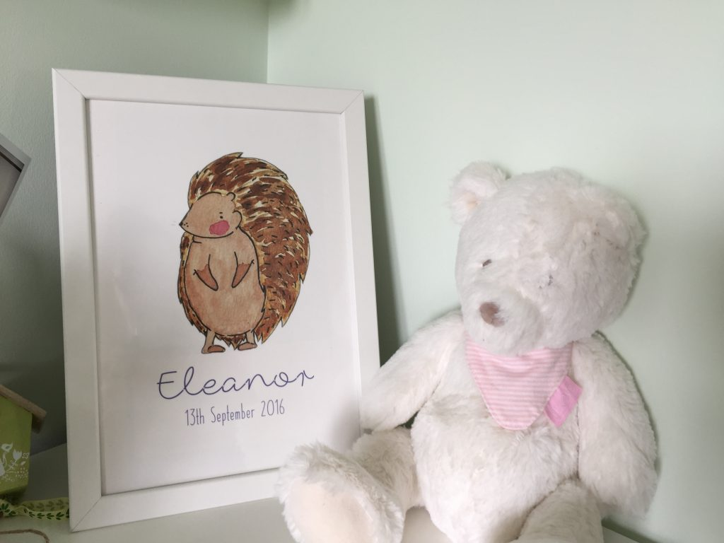 Eleanor's Nursery name print hedgehog