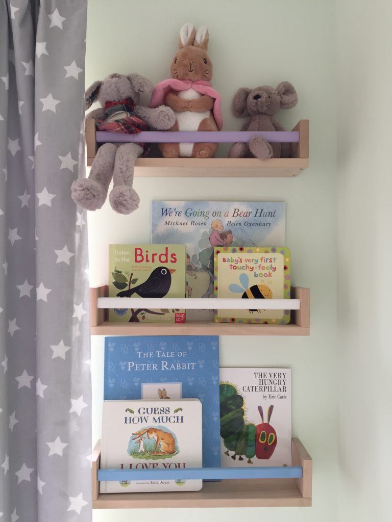 Eleanor's Nursery IKEA spice racks hack painted bookshelves