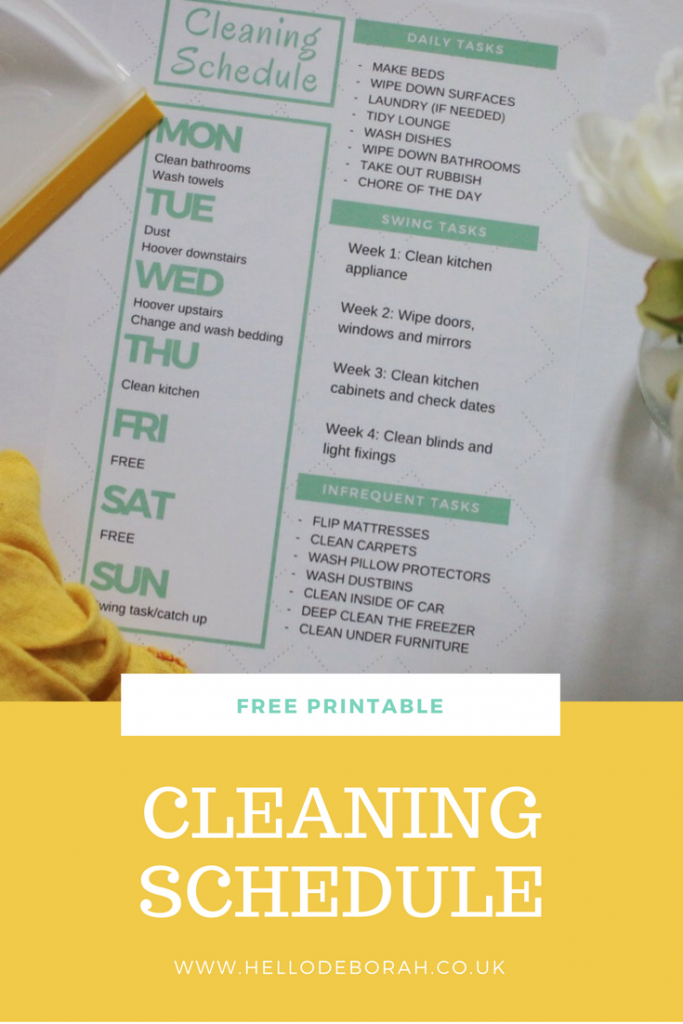 This is a free printable cleaning schedule, which I use for Spring 2017. It includes rest days, daily chores and weekly tasks.