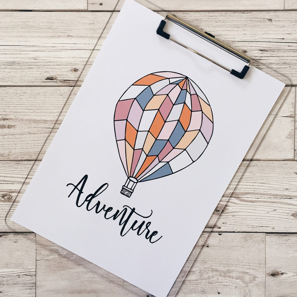 adventure hot air balloon print Quiet Brown Owl Etsy Shop