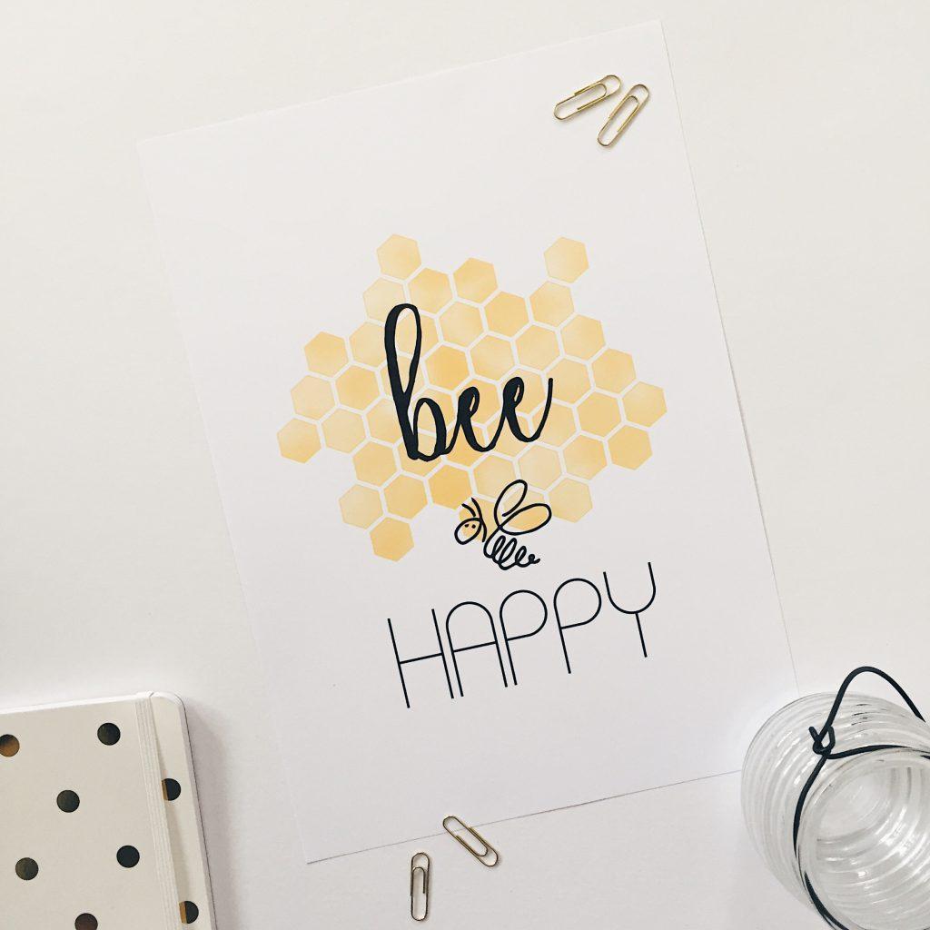 bee happy print Quiet Brown Owl Etsy Shop