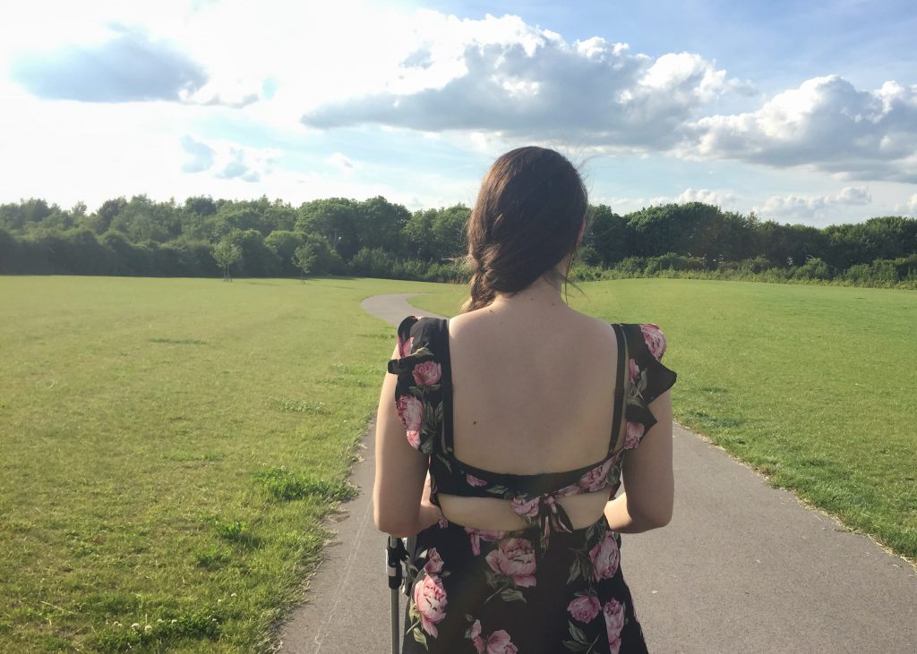 Body confidence - me in a pretty dress in the park.