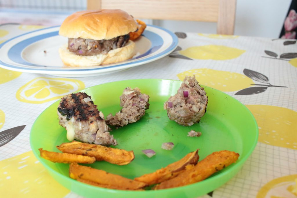 The Flavour Led Weaning Cookbook burger and sweet potatoes