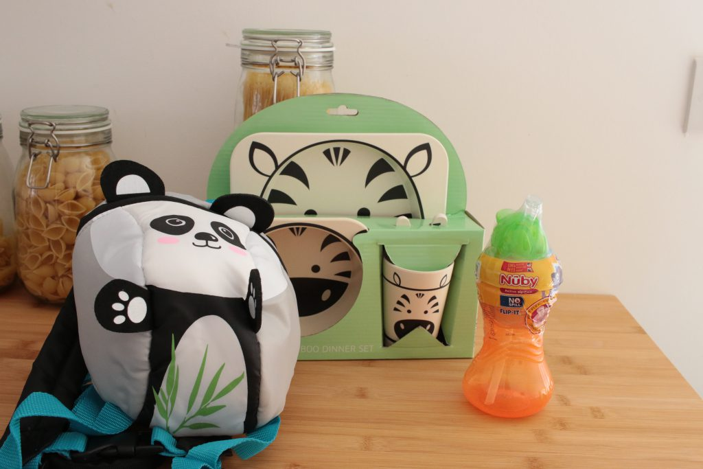 Aldi Baby and Toddler Event special buys. I bought the panda toddler reins, a Nuby cup and the zebra dinner set.