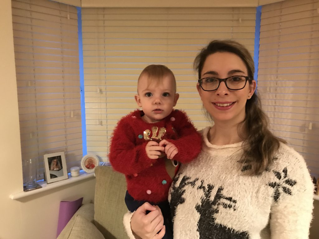 Eleanor and I wearing our Christmas jumpers