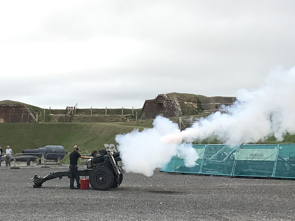 Gun firing at Fort Nelson